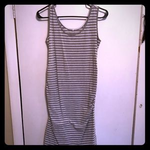 Gray and White stripped maternity tank dress
